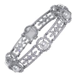 Belle Epoque GIA Cert Natural Pearl Diamond Platinum Bracelet