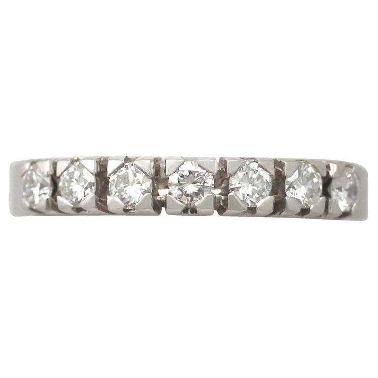 0.75Ct Diamond and 18k White Gold Half Eternity Ring - Vintage Circa 1970