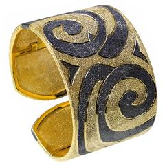 Silver Gold Cuff Bracelet With Swirl Pattern by Alex Soldier. Handmade in NYC.
