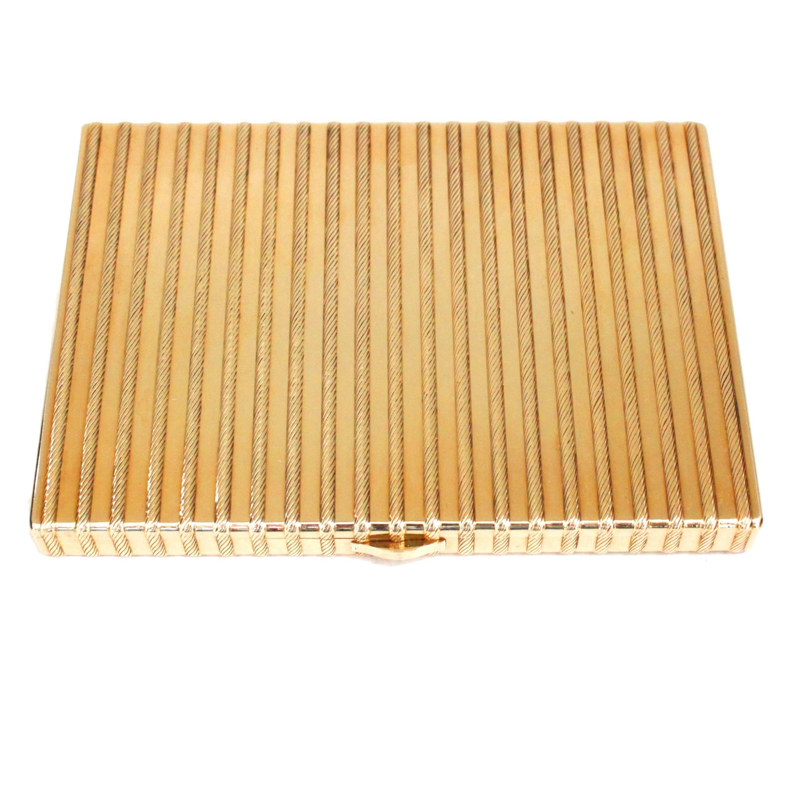 Cartier 18 Karat Gold Rope Cigarette Case