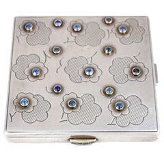 Mellerio Dits Meller Sapphire Silver Vanity Compact Box