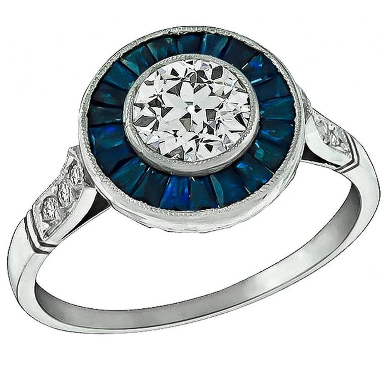 Charming 0.70 Carat GIA Certified Diamond Sapphire Platinum Halo Engagement Ring