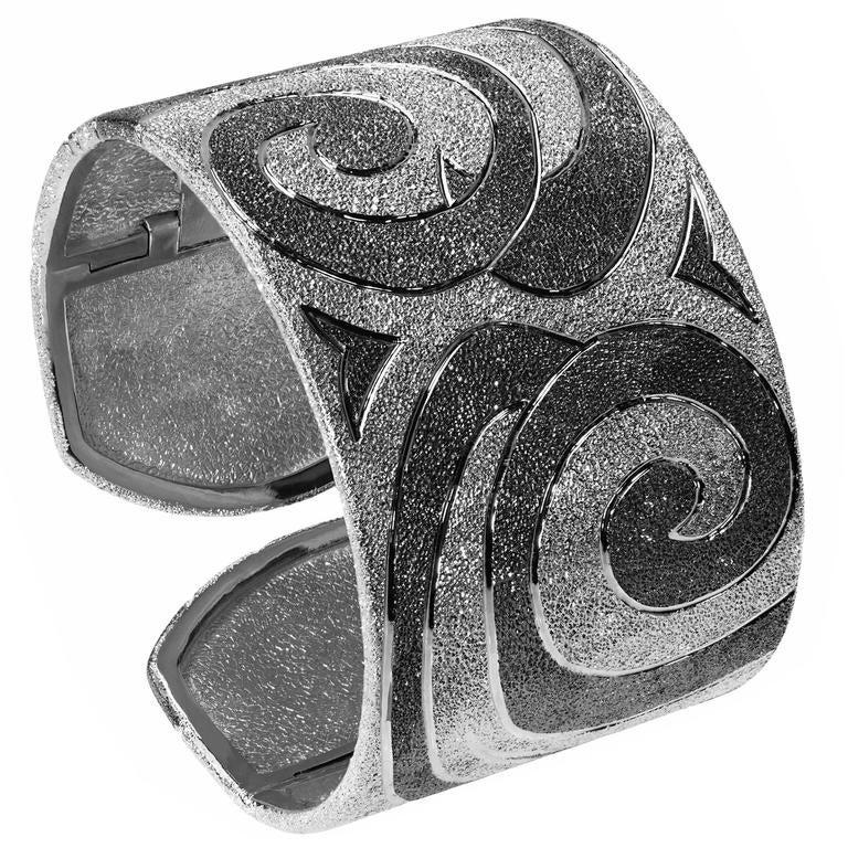Silver Platinum Textured Cuff Bracelet w Swirl Pattern Handmade in NYC Ltd Ed 1