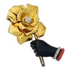 Cartier Art Deco Lacquer Diamond Gold Rose in Hand Brooch