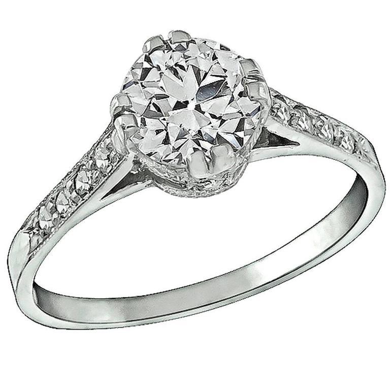 1.03 Carat GIA Cert Diamond Platinum Engagement Ring