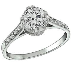 1.03 Carat GIA Cert Diamond Platinum Engagement Ring