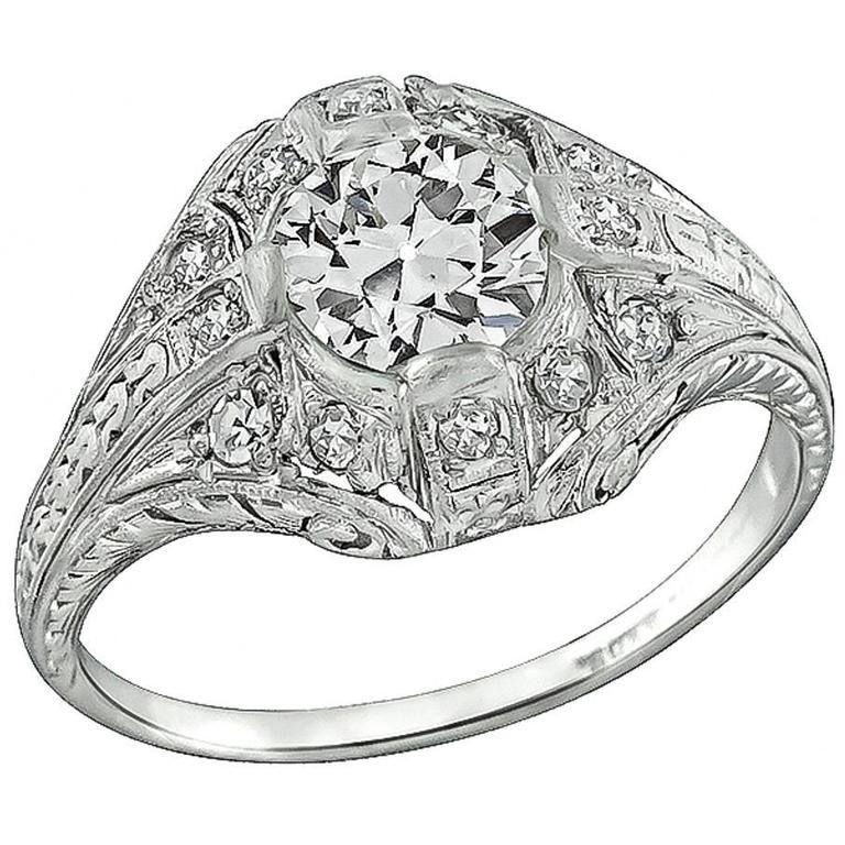 Antique 0.93 Carat GIA Cert Diamond Platinum Engagement Ring