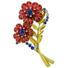 Boucheron Enamel Sapphire Diamond Gold Flower Pin Brooch