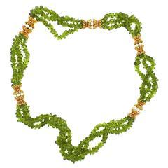 Impressive Peridot Pearl Gold Multi Strand Necklace