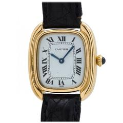 "Cartier Ladies Yellow Gold ""Gondole"" Manual Wind Wristwatch"