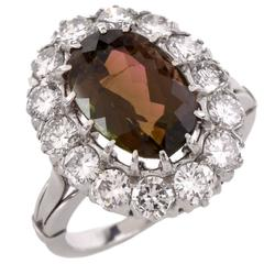 1950s Brown Pink Tourmaline Diamond Platinum Ring