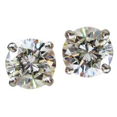 2.64 Carats GIA Cert Diamond Platinum Stud Earrings