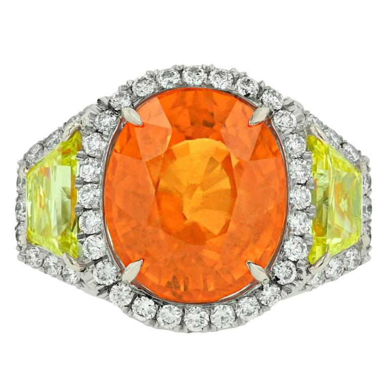 Finest Mandarin Garnet Diamond Gold Platinum Ring For Sale