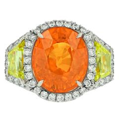 Finest Mandarin Garnet Diamond Gold Platinum Ring