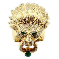 Emerald Diamond Gold Lion Head Ring