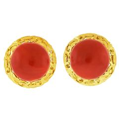Antique Coral Earrings in Gold and Gilded Sterling