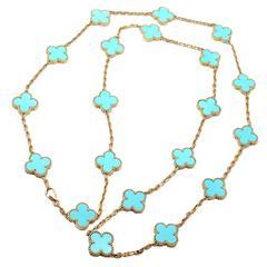 Van Cleef & Arpels Vintage Alhambra Twenty Motif Turquoise Gold Necklace