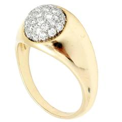 1980 Tiffany & Co. Paloma Picasso Diamond Pave Gold Ball Ring