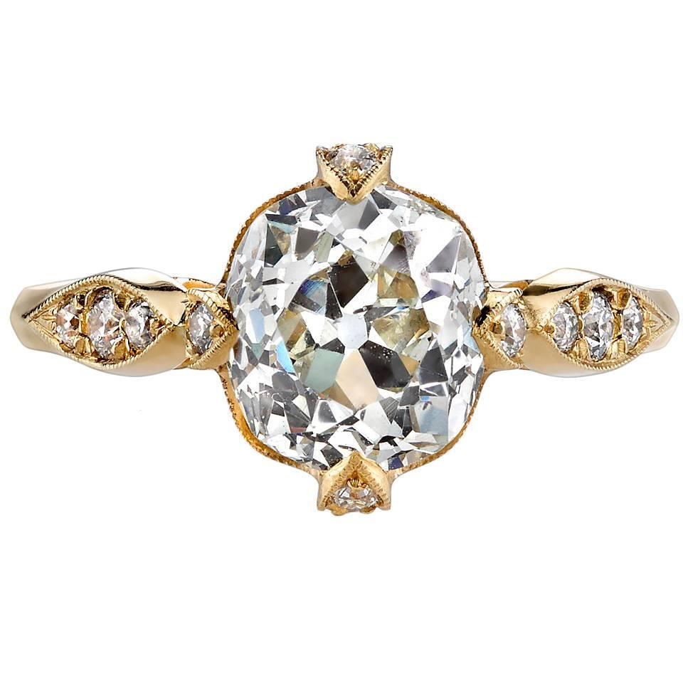 2 32 Carat Cushion Cut Diamond Gold Engagement Ring For Sale at 1stdibs