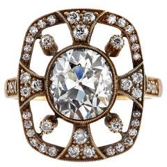 Beautiful Art Nouveau 2.38 Carat Diamond Gold Ring