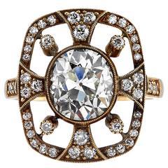 Beautiful Art Nouveau 2.38 Carat Diamond Gold Ring