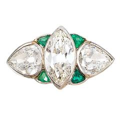 Emerald Diamond Platinum Ring
