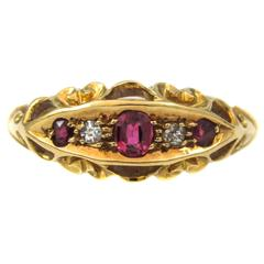 Victorian Ruby Diamond Gold Ring