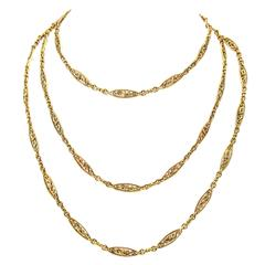 Victorian 52 Inch Gold Link Chain