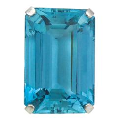 "Stunning 45 Carat Rare ""Santa Maria"" Blue Color Aquamarine Ring"