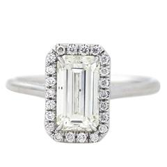 2.01 Carat Emerald Cut Diamond Gold Halo Ring