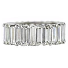 7.75 Carats Baguette Diamonds Platinum Wide Eternity Band Ring