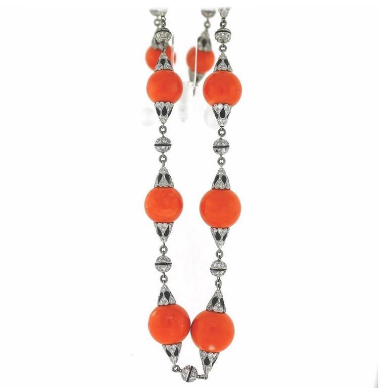 Coral Enamel Diamond Platinum Link Necklace