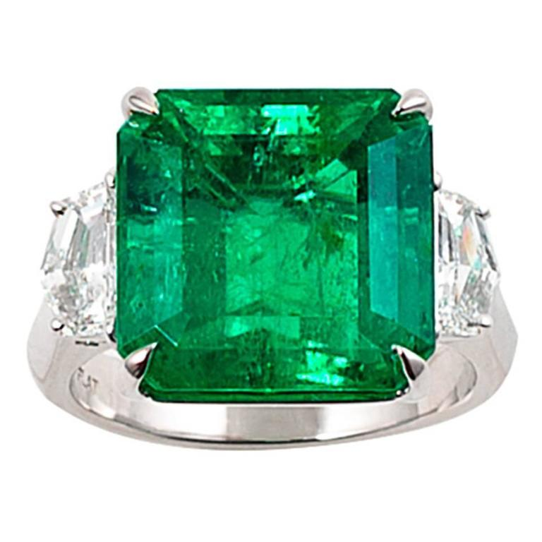 AGL Certified 9.67 Carat Colombian Emerald Diamond Platinum Ring