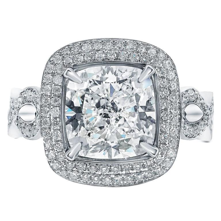 4 00 Carat GIA Cert Cushion Cut Double Pave Diamond Halo Engagement Ring at 1