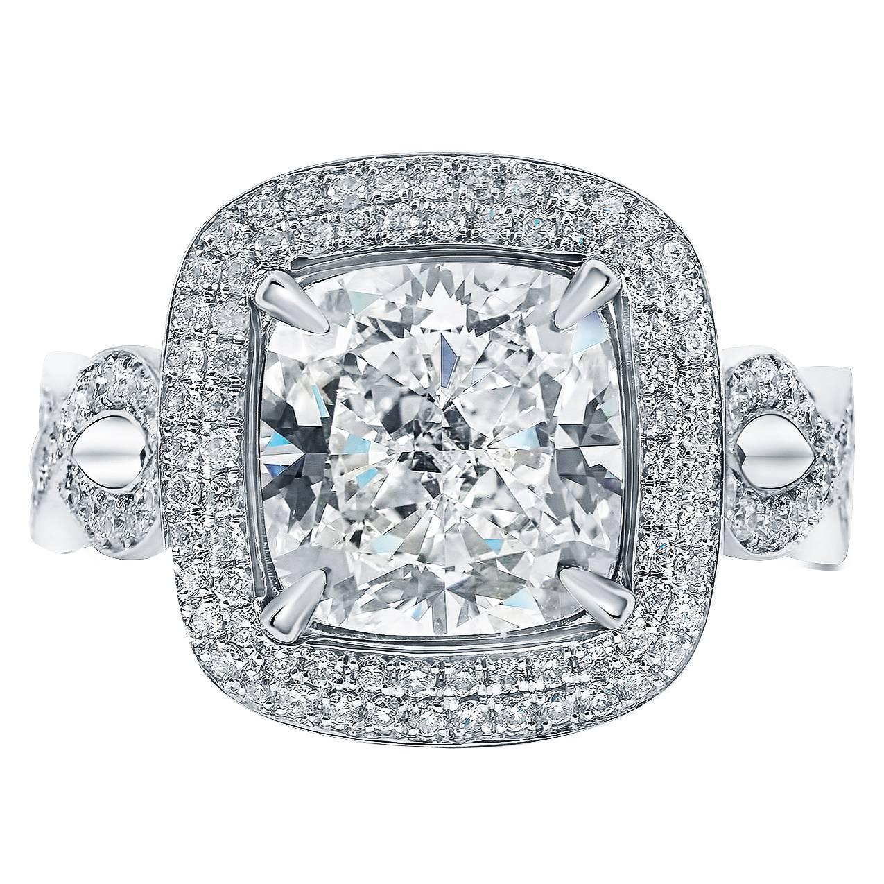 4 00 Carat GIA Cert Cushion Cut Double Pave Diamond Halo Engagement Ring For