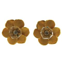 Carrera Y Carrera Diamond Gold Crystal Flower Earrings