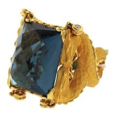 Carrera Y Carrera Large Blue Topaz Diamond Gold Dragon Ring
