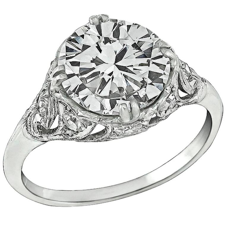 Stunning 2.27 Carat GIA Cert Diamond Platinum Engagement Ring