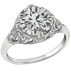 Stunning 2.27 Carat GIA Cert Diamond Platinum Engagement Ring