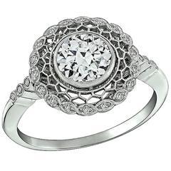1.01 Carat GIA Cert Diamond Platinum Cluster Ring