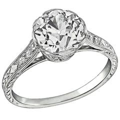2.01 Carat GIA Cert Old European Cut Diamond Platinum Engagement Ring