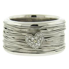 Pasquale Bruni Diamond Gold Heart Wide Band Ring
