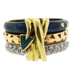 La Nouvelle Bague Enamel Diamond Gold Three Row Ring