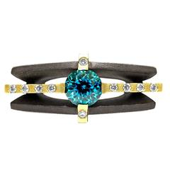 Robin Waynee Brilliant Blue Zircon White Diamond Gold Handmade Ring
