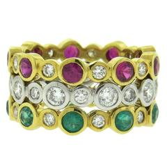 Modern Emerald Ruby Diamond Gold Stackable Ring Set