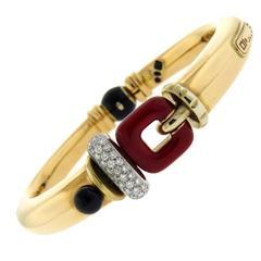 La Nouvelle Bague Enamel Onyx Diamond Silver Gold Bracelet