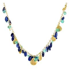 Barbara Heinrich Emerald Kyanite Briolette Handmade Dangling Petals Necklace