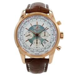 Breitling Rose Gold Transocean Chronograph Unitime Automatic Wristwatch