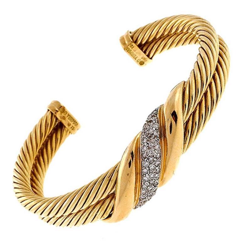 David Yurman Two Row Diamond Cable Gold Bracelet