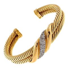 David Yurman Two Row Diamond Cable Gold Bracelet